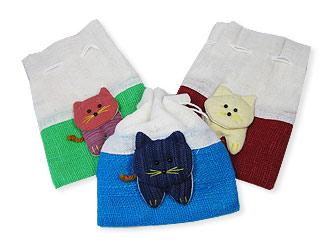 猫のミニ巾着
